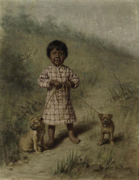 """""""Greenie com dois filhotes amarelos"""", também da artista"""