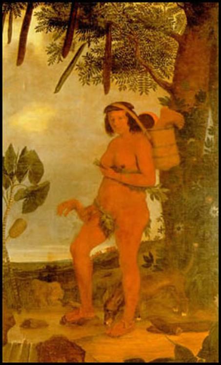 Mulher Tapuia, de Albert Eckhout (1643) pintada no período da ocupação holandesa do Nordeste. A obra também pode sugerir a convivência e relação próxima existente entre índios e cães – introduzidos com a colonização – no sertão desde, pelo menos, o século XVII