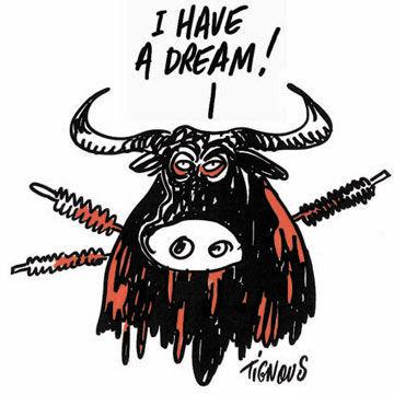 """Charge: """"Eu tenho um sonho"""", Autor: Charbonnier, Bernard (Tignous)"""